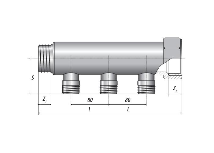 Коллектор со штуцером Н.Р. 1″-Т3-1/2″, ℓ=80 mm