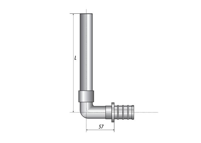 ПРЕСС Трубка приборная Г-образная 15-L300 х 20 (2.8)