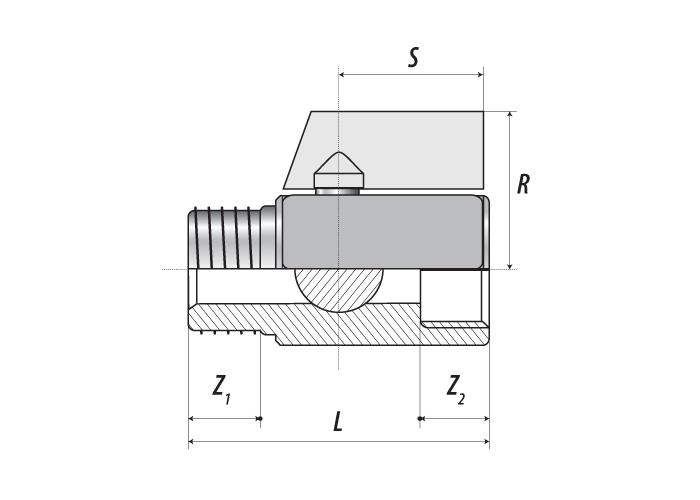 Мини-кран шаровой с наружной — внутренней резьбой, ручка